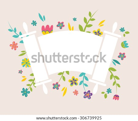 Jewish Torah surrounding with fresh vintage flowers - stock vector