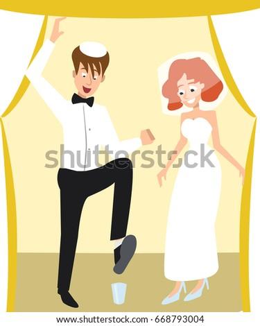 Jewish Wedding Traditional Ceremony Breaking The Glass Cartoon
