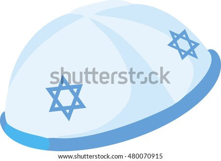 Jewish yarmulke hat. Rabbi judaic male culture object accessory kippah. Vector illustration isolated on white background