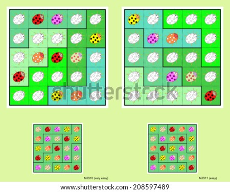 Jigsaw mini-sudoku vector set. Ladybugs. Very easy and easy. - stock vector