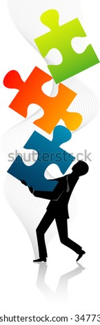 Jigsaw Puzzle Balance - Abstract concept of balanced solution for the company