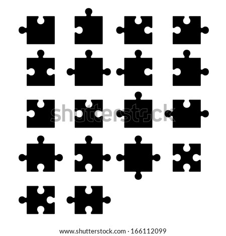 Jigsaw puzzle blank parts constructor - stock vector