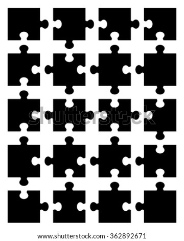 Jigsaw puzzle blank parts template. vector