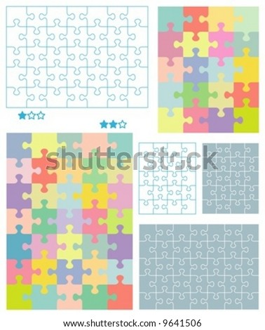 Jigsaw puzzle blank templates for 4x5 (20 pieces) and 5x7 (35 pieces) cuts with pastel colors patterns. For other dimensions search my portfolio. For high res JPEG or TIFF see image 8902075 - stock vector