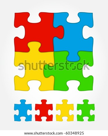 Jigsaw puzzle colored - stock vector