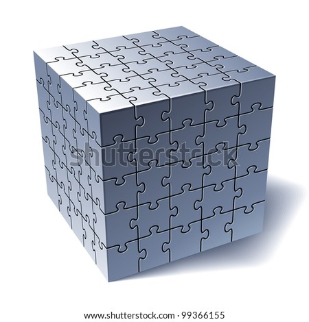 Jigsaw Puzzle Cube. All Parts Together. Vector Illustration - stock vector