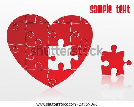 jigsaw puzzle heart, vector illustration - stock vector