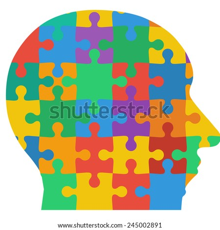 Jigsaw puzzle human head, colored background. Vector illustration.