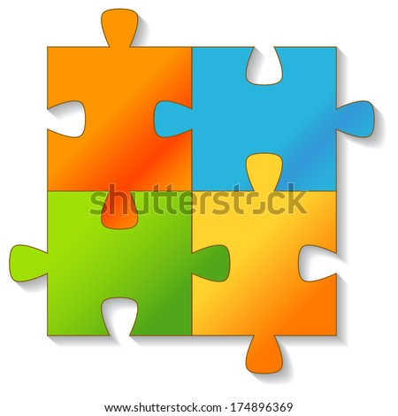 Jigsaw Puzzle on a white background. Vector illustration