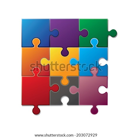 Jigsaw puzzle piece. Vector illustration - stock vector