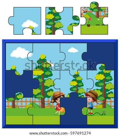 Jigsaw Puzzle Pieces For Kids Watering Plants Illustration
