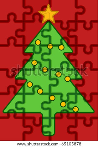 JIgsaw Puzzle Pieces Forming a Christmas Tree Design - stock vector