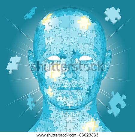 Jigsaw puzzle pieces forming a human head. Conceptual piece - stock vector