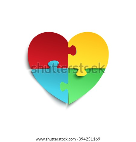 Jigsaw puzzle pieces in form of heart, isolated on white background. Autism symbol. Vector illustration. - stock vector