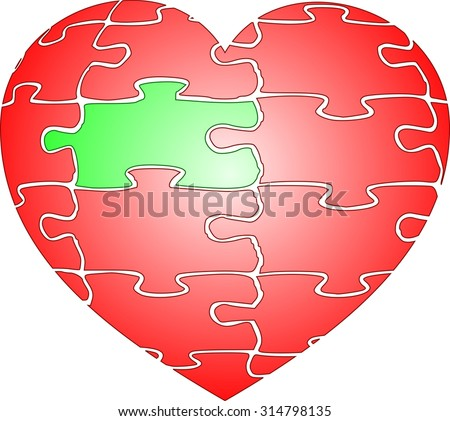 Jigsaw puzzle red heart of love with green element - stock vector