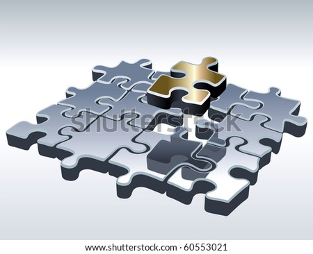 Jigsaw Puzzle Set. One Outstanding Part. Vector Illustration - stock vector