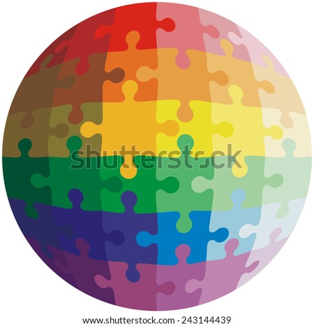 Jigsaw puzzle shape of a ball,  colors  rainbow. Vector illustration.