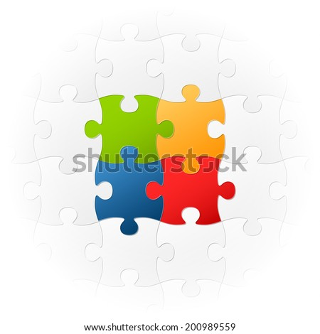 Jigsaw Puzzle - TEAMWORK - the very special parts - stock vector