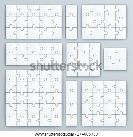 Jigsaw Puzzle Templates. Set of puzzle 15, 3, 12, 10, 9, 4, 16, 25 pieces - stock vector