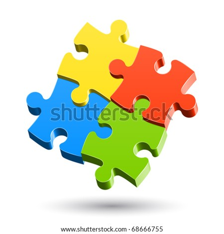 Jigsaw Puzzle. Vector. - stock vector