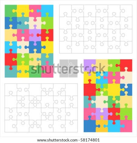 Jigsaw puzzle vector blank templates and colorful patterns ( for high res JPEG or TIFF see image 58174798 )
