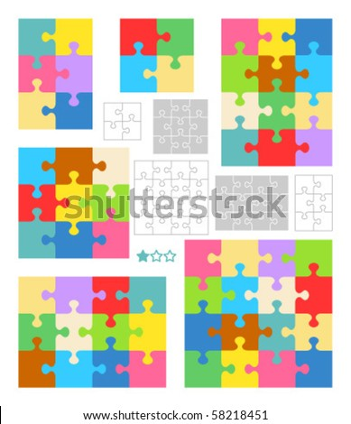 Jigsaw puzzle vector blank templates and colorful patterns ( for high res JPEG or TIFF see image  58218454 ) - stock vector