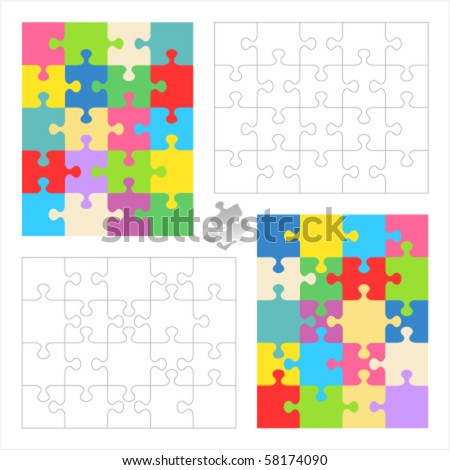 Jigsaw puzzle vector blank templates and colorful patterns 20 pieces 4 x 5 and 5 x 4 ( for high res JPEG or TIFF see image 58174087 )  - stock vector