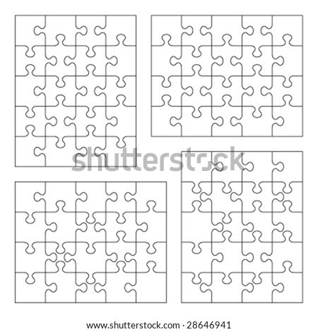 Jigsaw puzzle vector blank templates 4x5 and 5x4 of various cutting guidelines ( for high res JPEG or TIFF see image 28646944 )