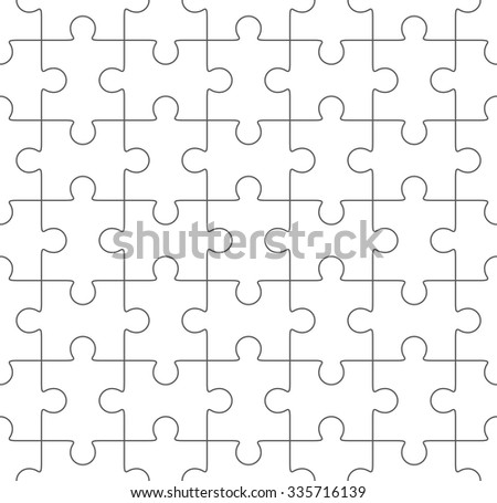 Jigsaw puzzle vector, seamless blank simple template