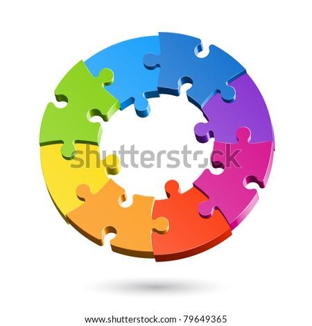 Jigsaw puzzle wheel. Vector. - stock vector