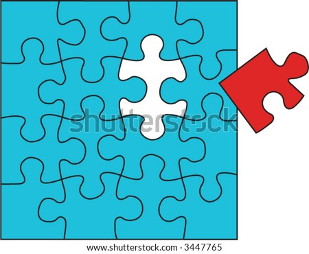 Jigsaw puzzle with a last piece that does not fit. Without strokes. - stock vector