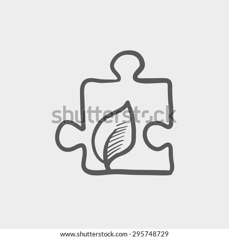 Jigsaw puzzle with leaf sketch icon for web and mobile. Hand drawn vector dark grey icon on light grey background. - stock vector