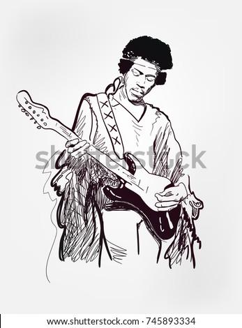 Jimi Hendrix American Singer Guitar Player Black Vector Illustration Sketch Style