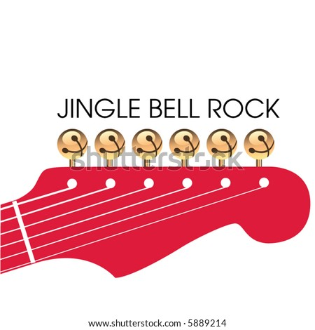 Jingle bell rock is depicted with jingle bells as tuners on a guitar headstock in this Christmas scene - stock vector