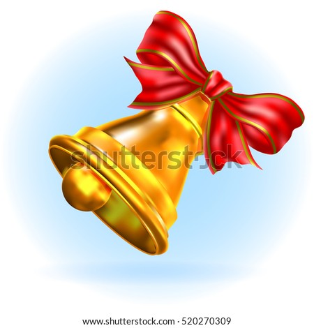 Jingle bell with red bow on a white background