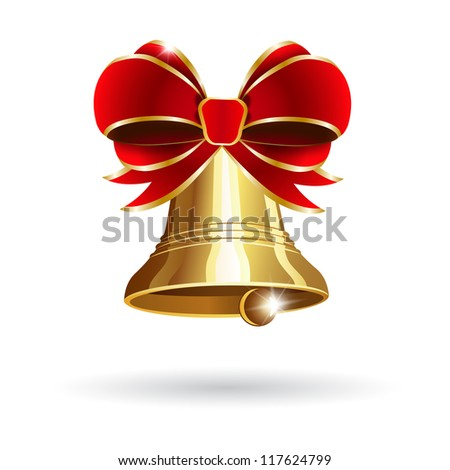 Jingle bell with red bow on a white background. Vector illustration - stock vector