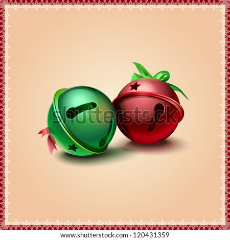 Jingle bells on abstract background - stock vector