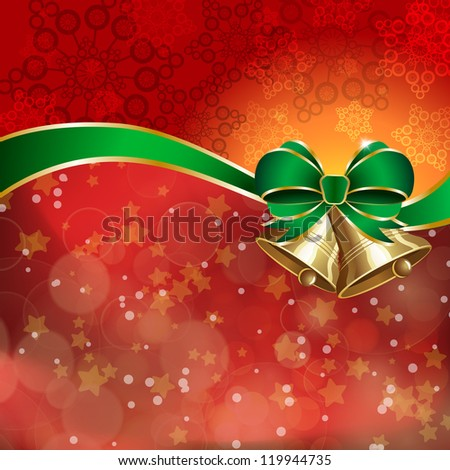 Jingle bells with green bow on a shines background. Vector illustration - stock vector
