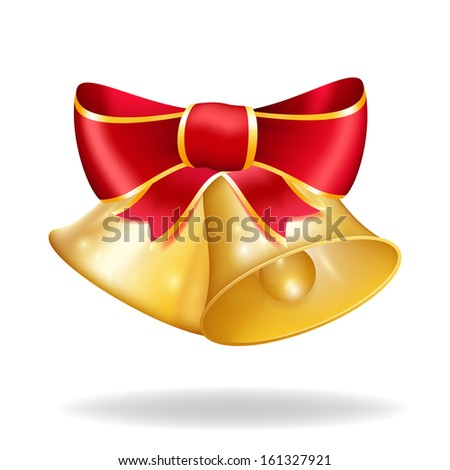 Jingle bells with red bow. Vector illustration - stock vector