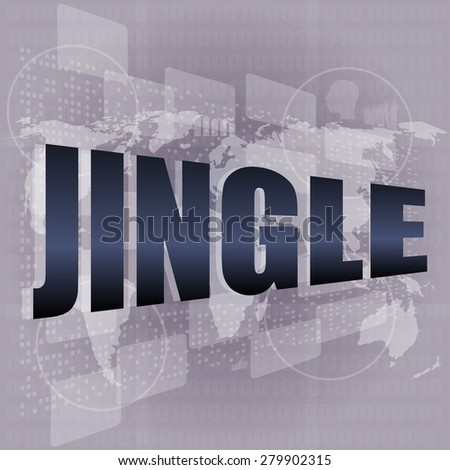 jingle word on digital screen background with world map vector - stock vector