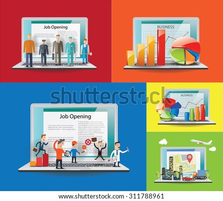Job and business concept.Set of notebook illustrations Vector images. - stock vector