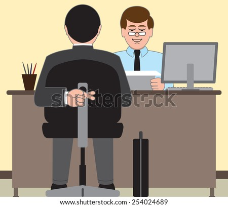 Job applicant desperate to do well on his interview - stock vector