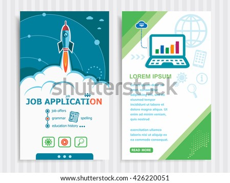 Job application and concept background with rocket. Project Job application concepts and Set of Banners. Vector Illustration. Eps10 Format.