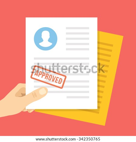 Job application approved. Hand holds job application with approval stamp on it. Modern flat design concept for web banners, web sites, infographic. Flat vector illustration isolated on red background - stock vector