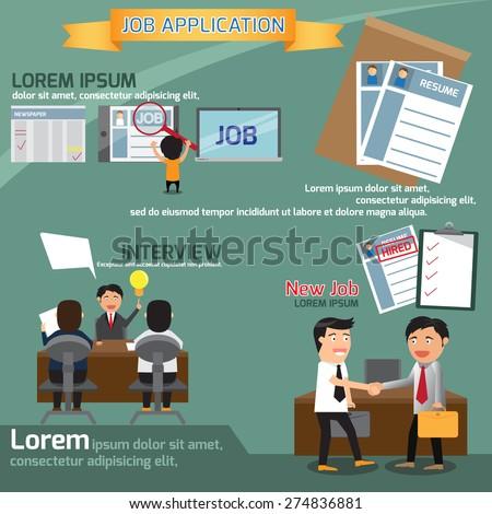 job application infographics element, business concept vector illustration. - stock vector