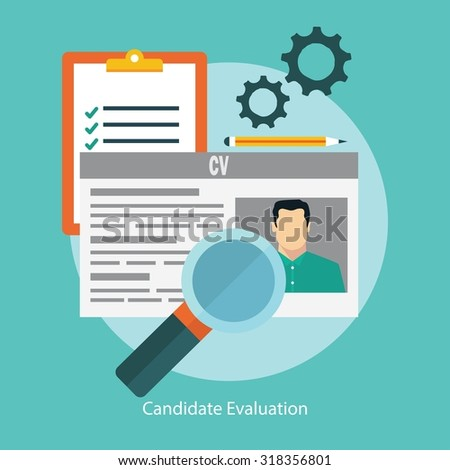 Job candidate selection concept with business cv resume  - stock vector