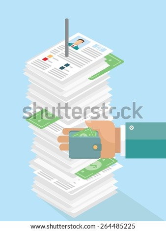 Job candidate selection, corruption concept - stock vector