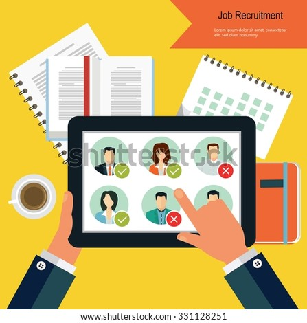Job candidate selection process - stock vector