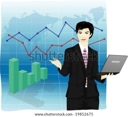Job Character on blue background - successful presentation of smart young man for economic growth with a laptop in Asian office