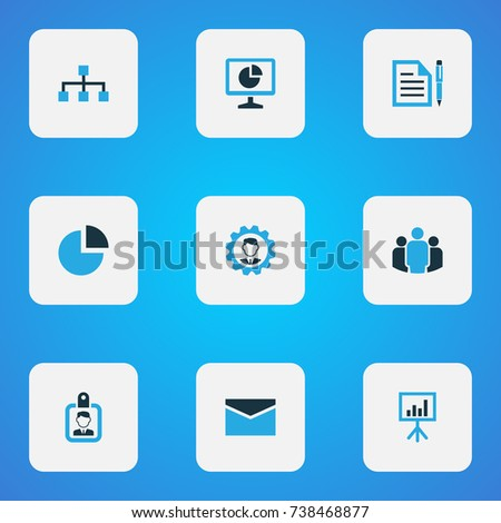 Job Colorful Icons Set Collection Statistics Stock Vector 738468877